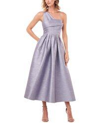 Kay Unger One-shoulder Victoire Shantung Jacquard Midi Dress - Purple