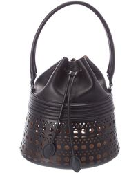 Alaïa Corset Leather Bucket Bag - Black