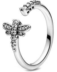 PANDORA 198806c01 Ring Silver Sparkling Dragonfly - Metallic