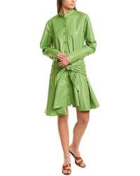 Tibi Glossy Plainweave Short Shirtdress - Green