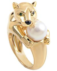 Cartier - Cartier Panthere 18k Gemstone & Pearl Ring - Lyst