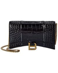 Balenciaga Hourglass Croc-embossed Leather Wallet On Chain - Black
