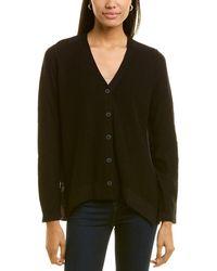 Donna Karan Contrast Back Linen-blend Cardigan - Black