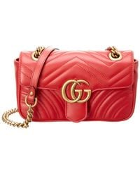 Gucci GG Marmont Matelassé Mini Bag - Red