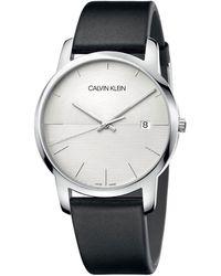 Calvin Klein City Leather Strap Watch - Metallic