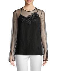 Versace Silk Embroidery Camisole - Black