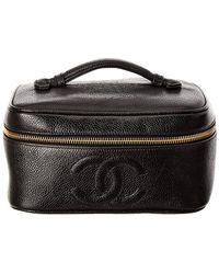 Chanel Black Caviar Leather Horizontal Cosmetic Case