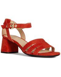 Geox Seyla Suede Sandal - Red