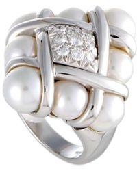 Mikimoto 18k 0.32 Ct. Tw. Diamond & 6-7.5mm Akoya Pearl Ring - Metallic