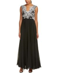 Aidan Mattox Silk-blend Gown - Black