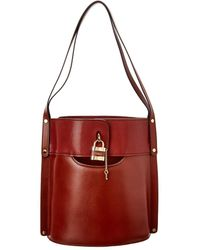 Chloé Aby Medium Leather Bucket Bag - Red