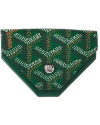 Goyard Green Ine Canvas & Leather Triangle Coin Pouch