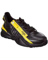 Fendi Flow Leather Trainer - Black