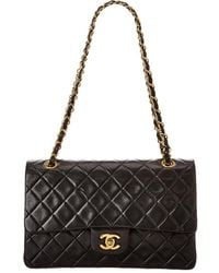 Chanel Black Quilted Lambskin Leather Classic Double Flap Bag