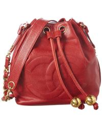 Chanel Red Caviar Leather Small Cc Bucket Bag