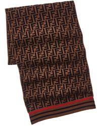 Fendi Ff Motif Cashmere & Wool-blend Scarf - Brown