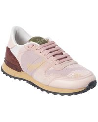 Valentino Garavani Rockrunner Suede & Leather-trim Trainer - Pink
