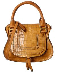 Chloé Marcie Small Croc-embossed Leather Satchel - Brown
