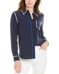 Tory Burch Contrast Binding Long-sleeve Silk Button Down Shirt - Blue