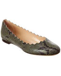 Chloé Lauren Scalloped Snake-embossed Leather Ballerina Flat - Green