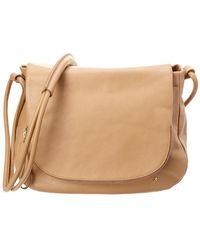 Halston Large Zip Flap Leather Saddle Bag - Brown