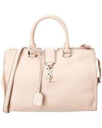 3f3f0d36ecb7 Lyst - Saint Laurent Y-ligne Cabas Mini Leather Bag in White