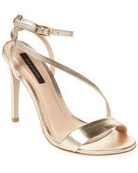Ava & Aiden Leather Ankle Strap Stiletto Sandals - Metallic