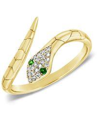 Sabrina Designs 14k Diamond & Tsavorite Snake Ring - Metallic
