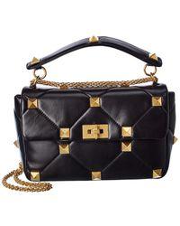 Valentino Garavani Rockstud Leather Shoulder Bag - Blue