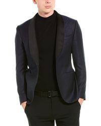 Lubiam Smoking Wool Tuxedo Jacket - Blue