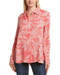 Lafayette 148 New York Bower Print Blouse - Pink