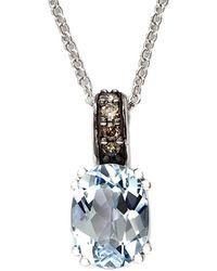Effy - Fine Jewelry 14k 1.25 Ct. Tw. Diamond & Aquamarine Necklace - Lyst