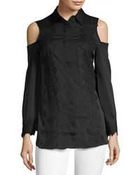 Love Scarlett - Laced Cold-shoulder Button-down Shirt - Lyst