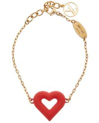 Louis Vuitton - Gold-tone Red Acrylic Lv&v Bracelet - Lyst