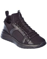 Ferragamo Shiro Leather-trim Trainer - Black