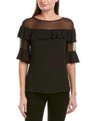 Bailey 44 Bailey 44 Creme Brulee Silk-trim Blouse - Black