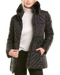 Via Spiga Herringbone Quilted Coat - Black