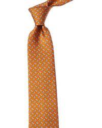 Ferragamo Gemello Print Silk Tie - Orange