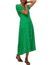 Whistles Romantic Floral Silk Dress - Green