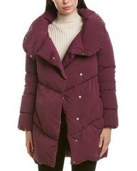 Add Long Down Coat - Purple
