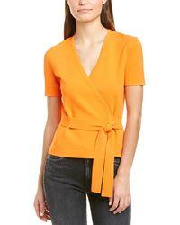 Diane von Furstenberg Mirella Knitted Wrap Top - Orange