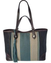 Frye Melissa Striped Canvas & Leather Shopper Tote - Grey