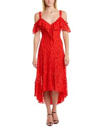 BCBGMAXAZRIA Lace Midi Dress - Red
