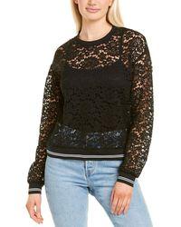Three Dots Floral Lace Sweatshirt - Black