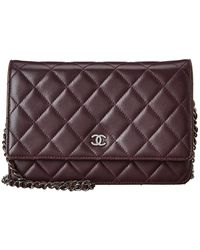Chanel Purple Quilted Caviar Leather Wallet On Chain