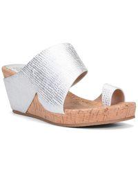 Donald J Pliner Gretta Leather Wedge Sandal - Metallic