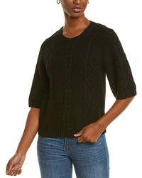 RAFFI 3/4-sleeve Mixed Cable Sweater - Black