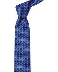 Ferragamo - Blue Jacquard Gancini Silk Tie - Lyst