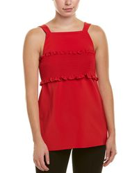 Tibi Faille Smocked Top - Red