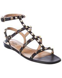 Valentino Valentino Garavani Rockstud Caged Leather Ankle Strap Sandal - Black